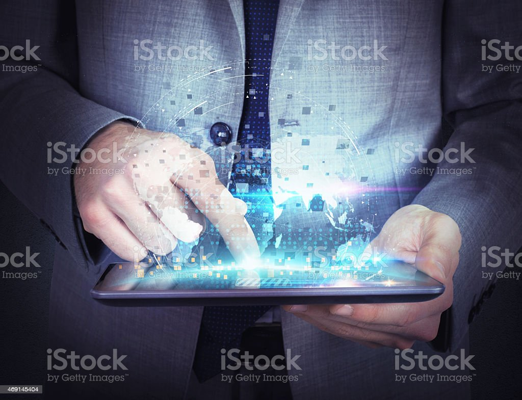 Share work  with tablet stock photo