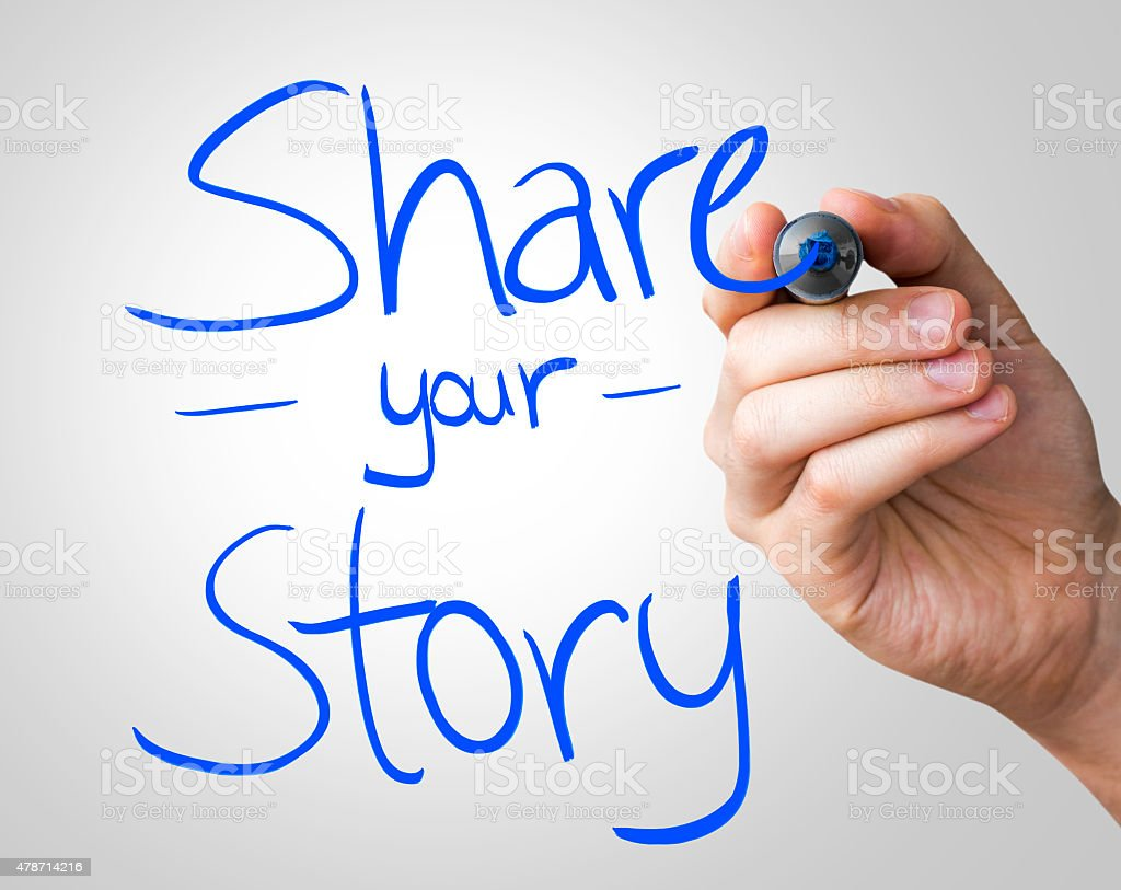 Share you Story written on the Wipe board stock photo