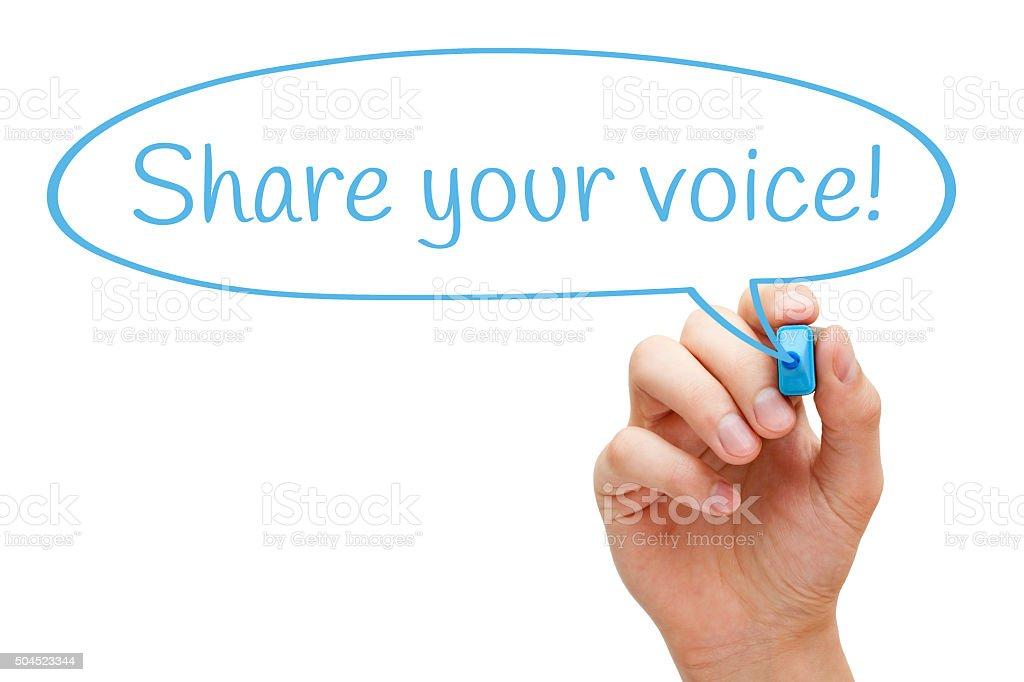 Share Your Voice Speech Bubble Concept stock photo