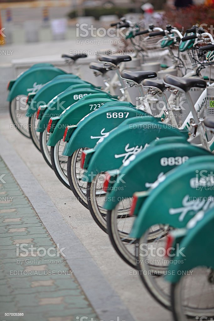Shared Rental Bicycles in Changwon, South Korea stock photo