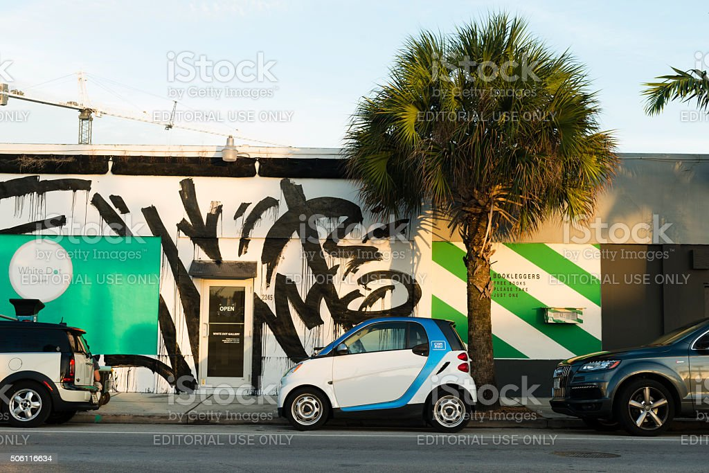 Shared Smart Car 2 Go Vehicle Parked in Wynwood Miami stock photo