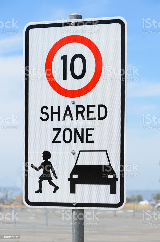 Shared zone road sign stock photo