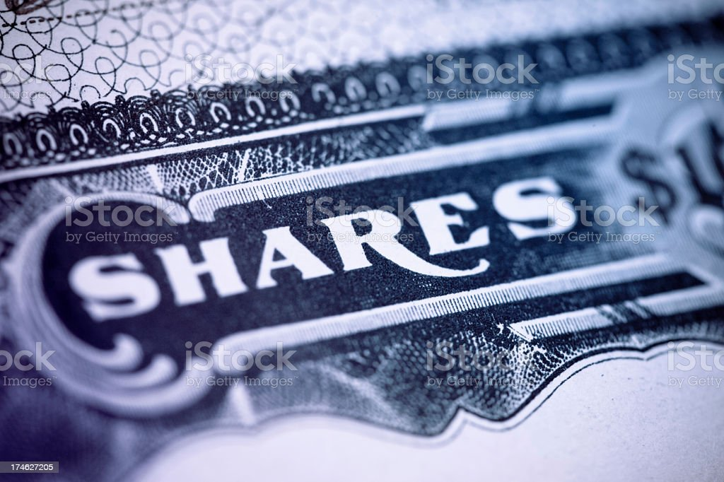 Shares Certificate stock photo