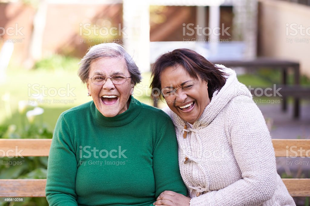 Sharing a laugh with her best friend stock photo