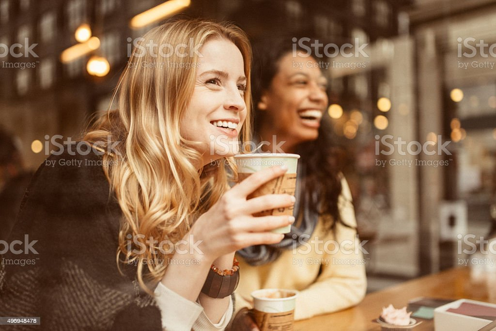 Sharing a laugh with my friend stock photo