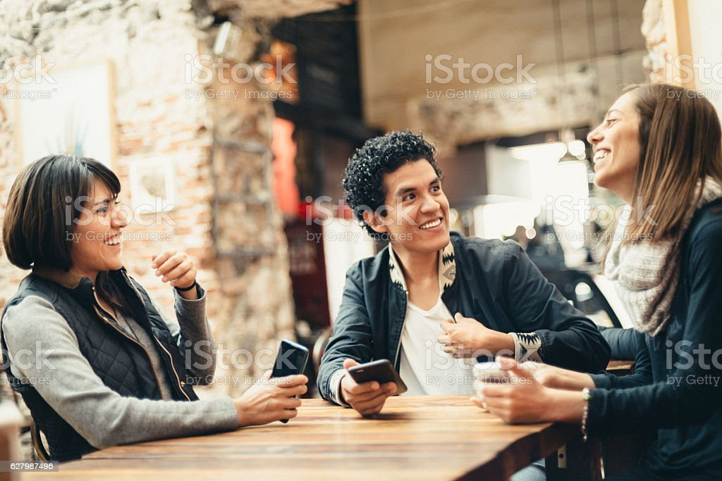 Sharing a Laugh with my Friends stock photo