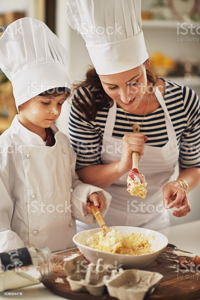 Sharing a love of baking stock photo