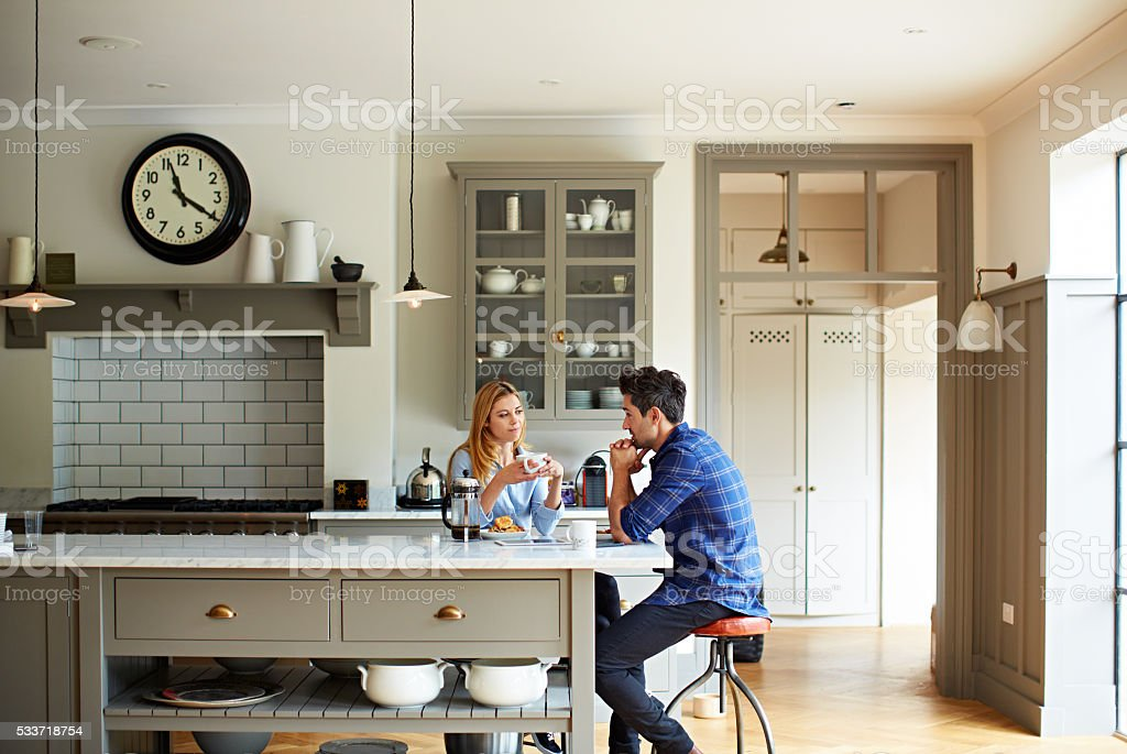 Sharing a moment over breakfast stock photo