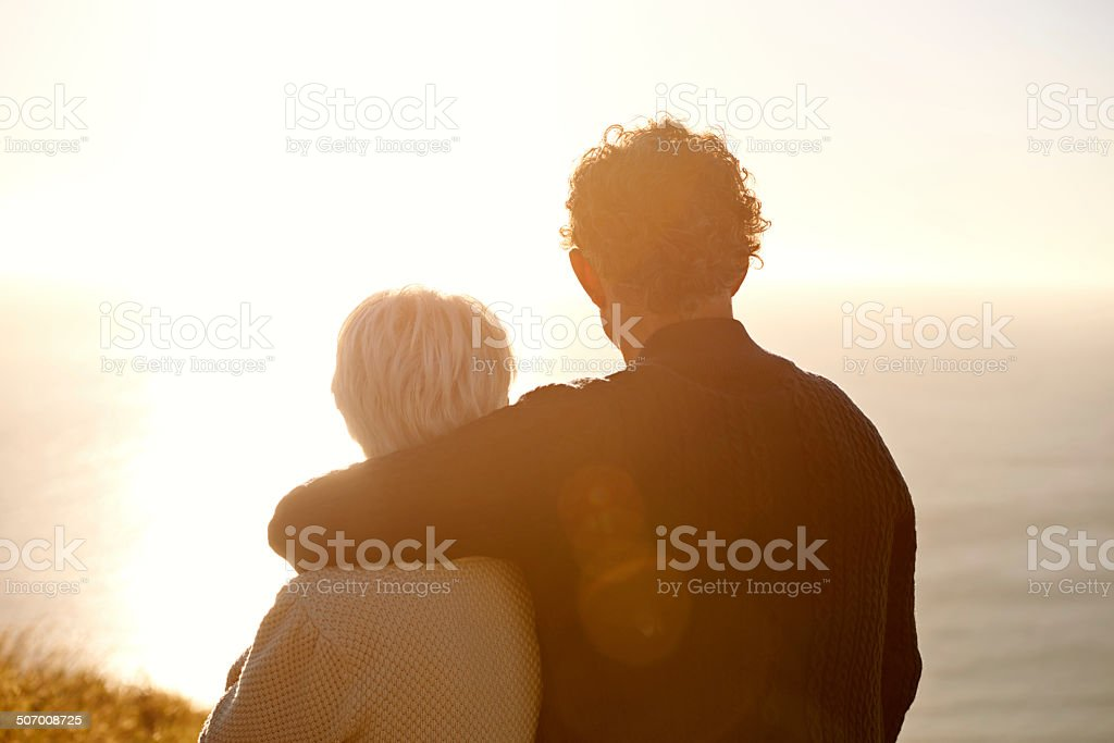 Sharing a moment's reflection stock photo