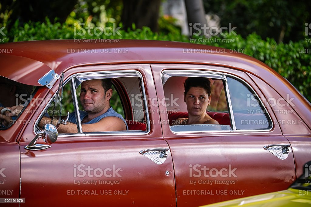 Sharing a ride in Havana stock photo