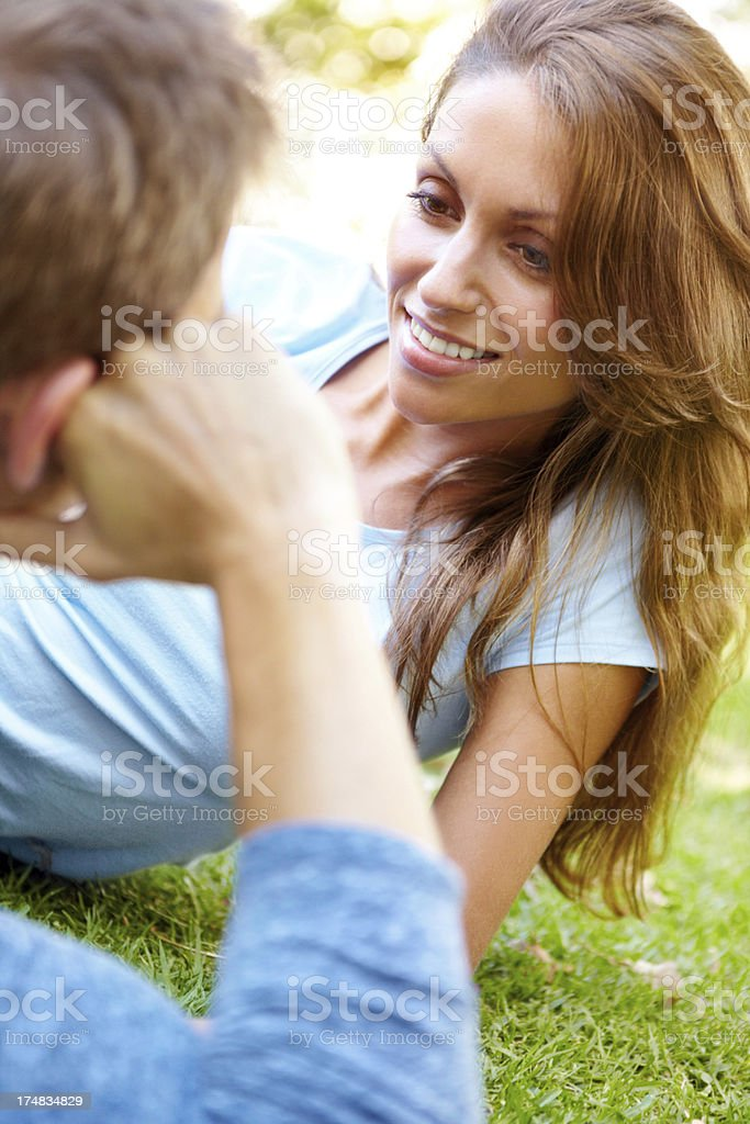 Sharing a romantic date in the park royalty-free stock photo