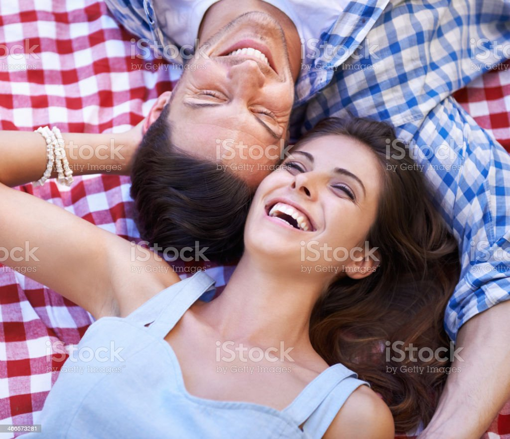 Sharing a romantic moment stock photo