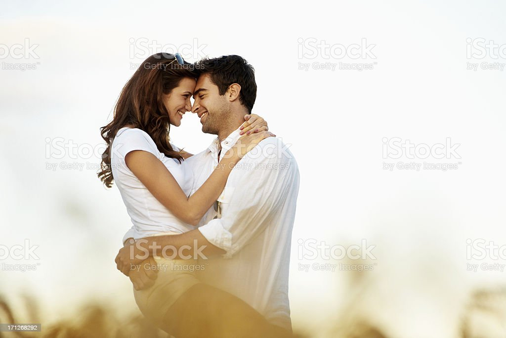 Sharing an intimate moment of romance stock photo