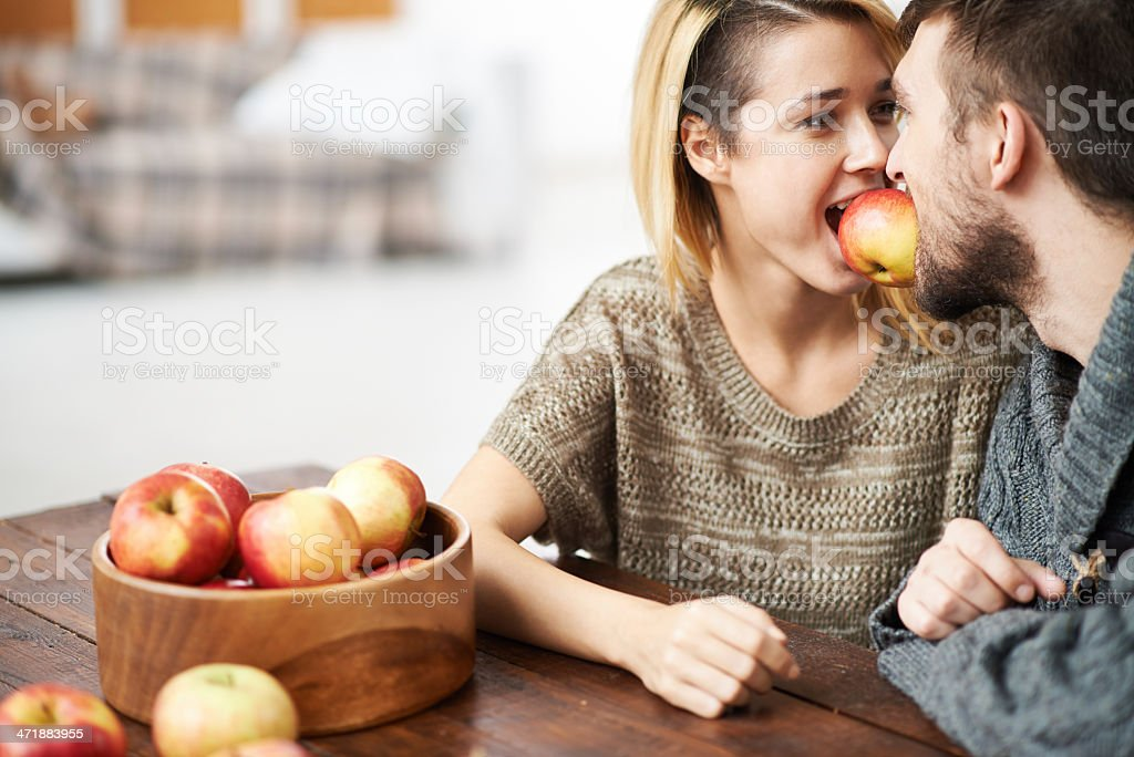 Sharing apple royalty-free stock photo