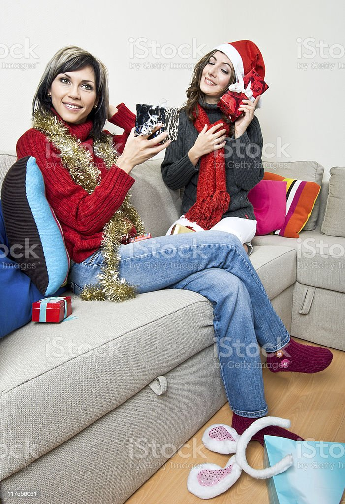 Sharing Christmas Presents royalty-free stock photo