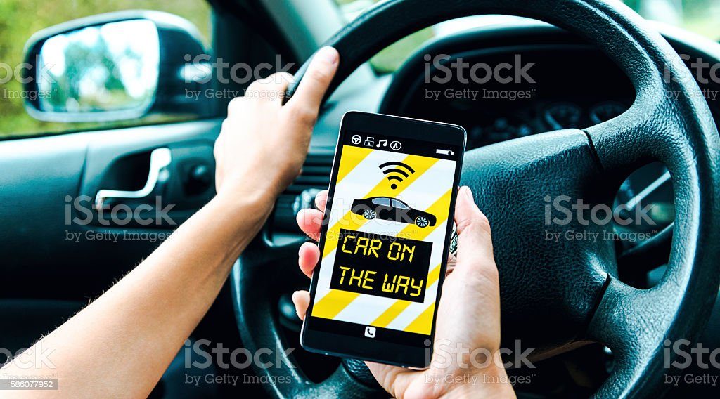 Sharing economy lets driver connect to customers with app stock photo