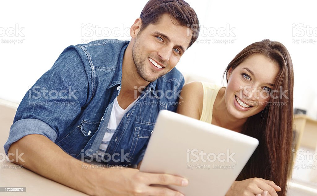 Sharing exciting new touchscreen technology royalty-free stock photo