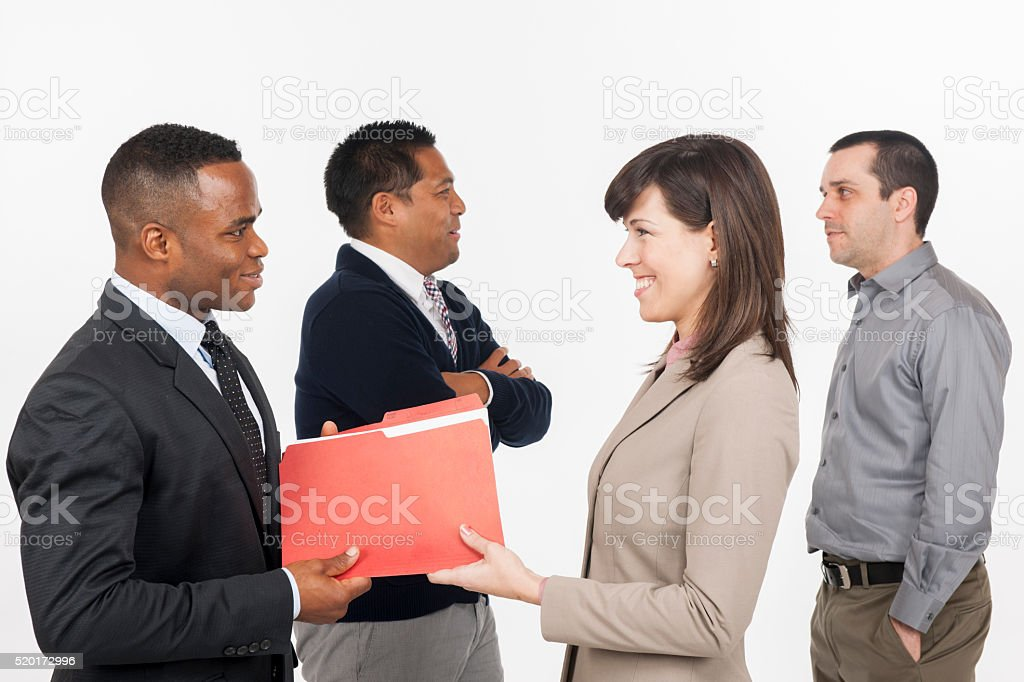 Sharing Files at Work stock photo