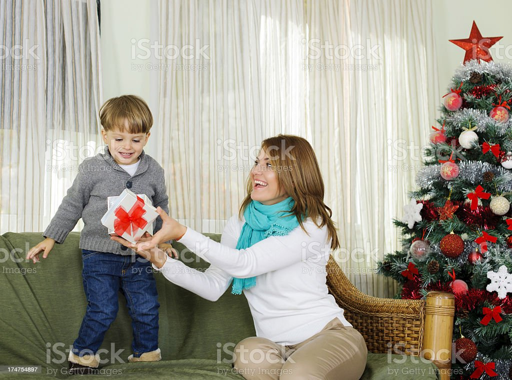 sharing gifts royalty-free stock photo