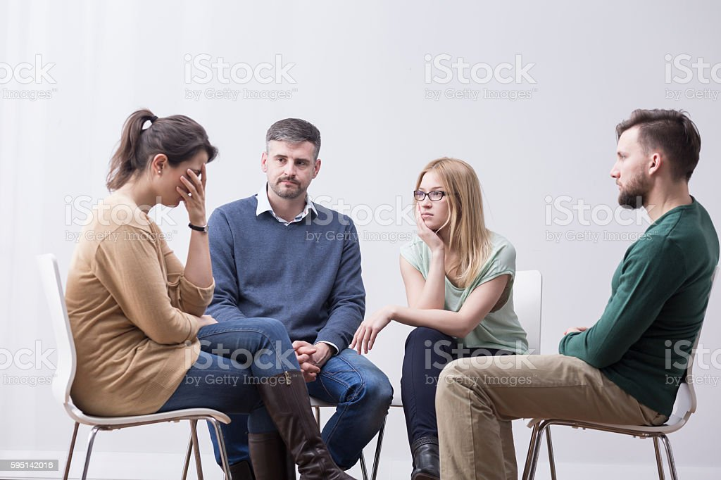Sharing her problems to receive support stock photo