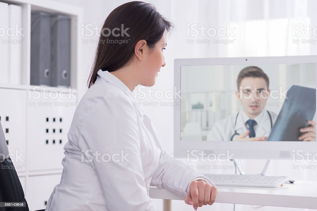 Sharing his experience concerning a disputable case stock photo