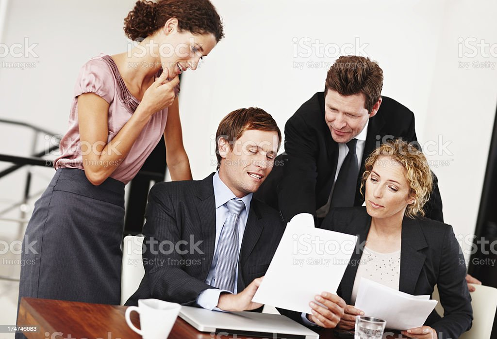Sharing his ideas with the team royalty-free stock photo