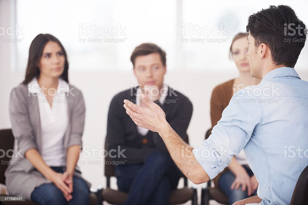 Sharing his problems with people. stock photo