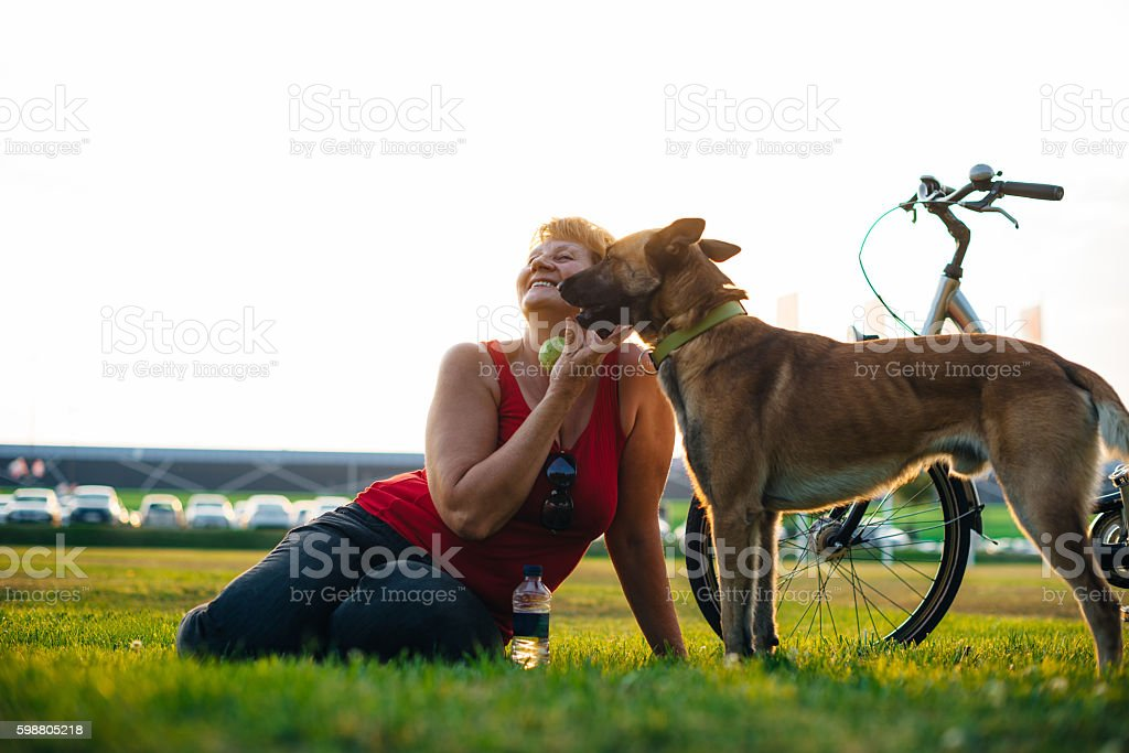 Sharing love with the dog stock photo