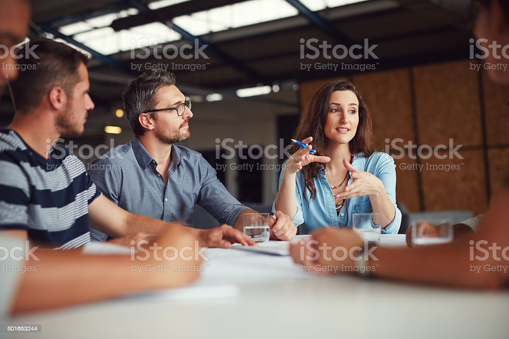 Sharing new ideas stock photo