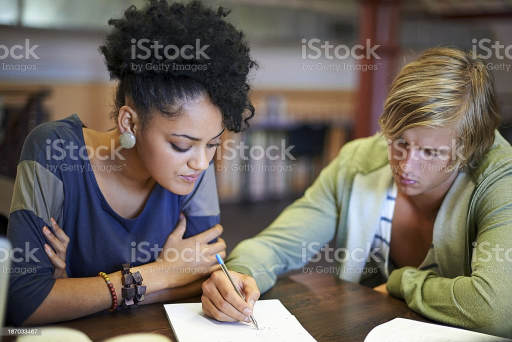 Sharing notes royalty-free stock photo