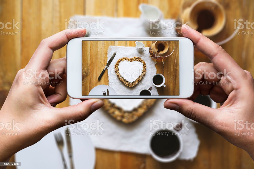 Sharing photo of tabletop stock photo