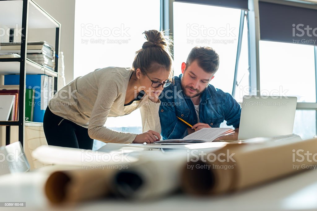 Sharing project ideas stock photo