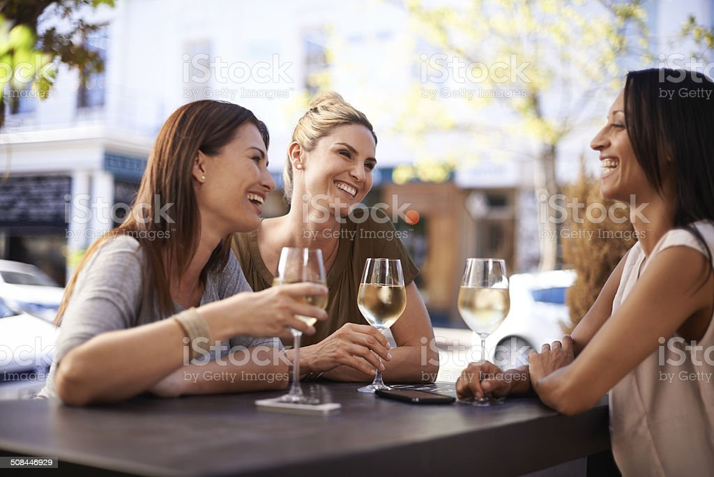 Sharing the good times stock photo