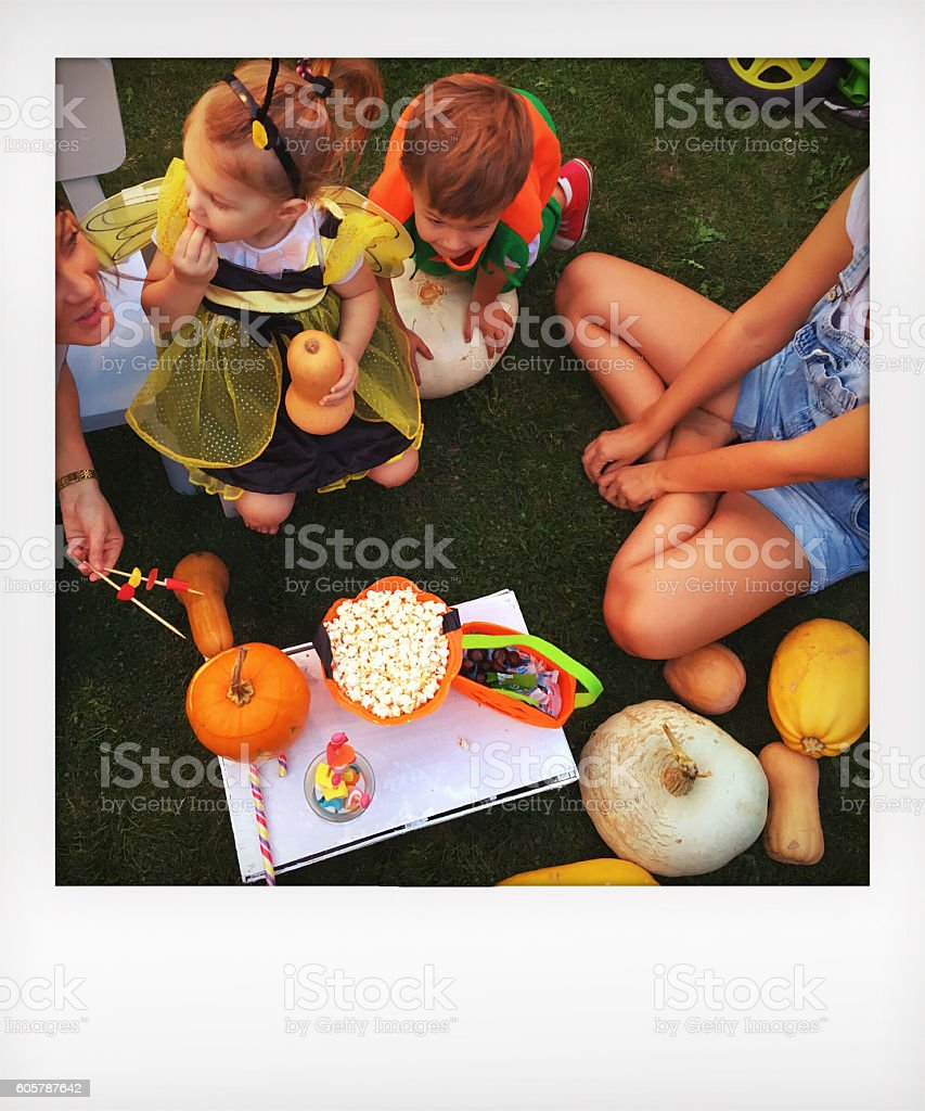 Sharing the Halloween candy stock photo
