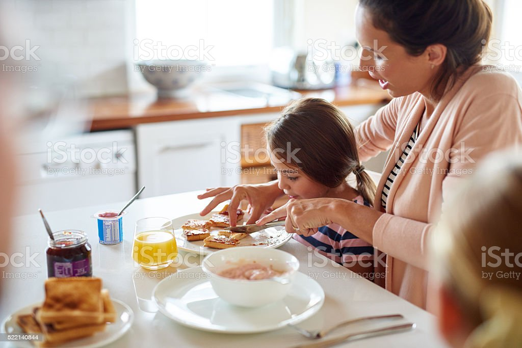 Sharing the most important meal of the day stock photo