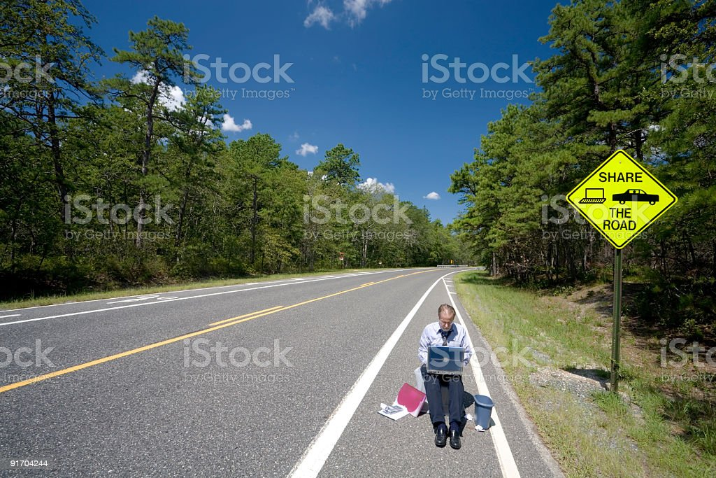 Sharing The Road - 2 royalty-free stock photo