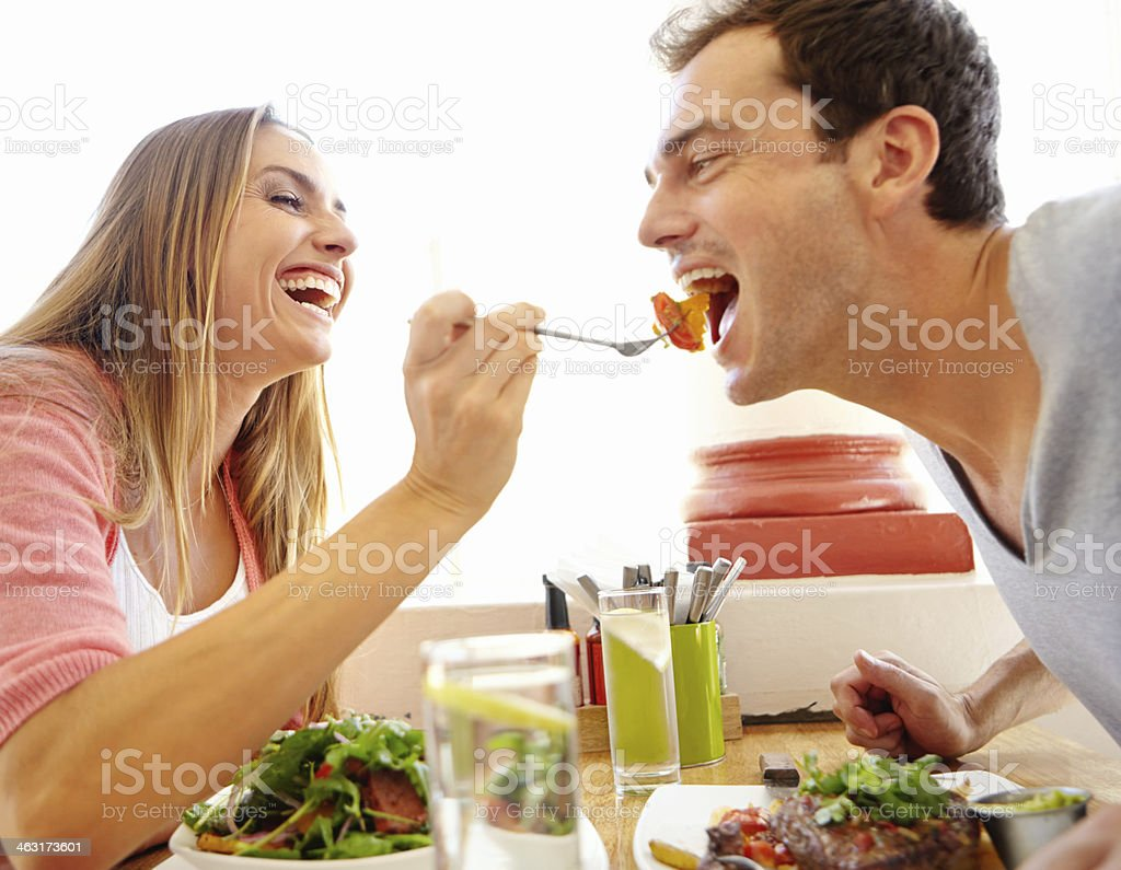 Sharing the taste experience stock photo