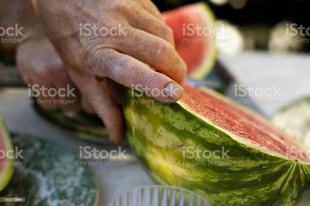 sharing the watermelon stock photo