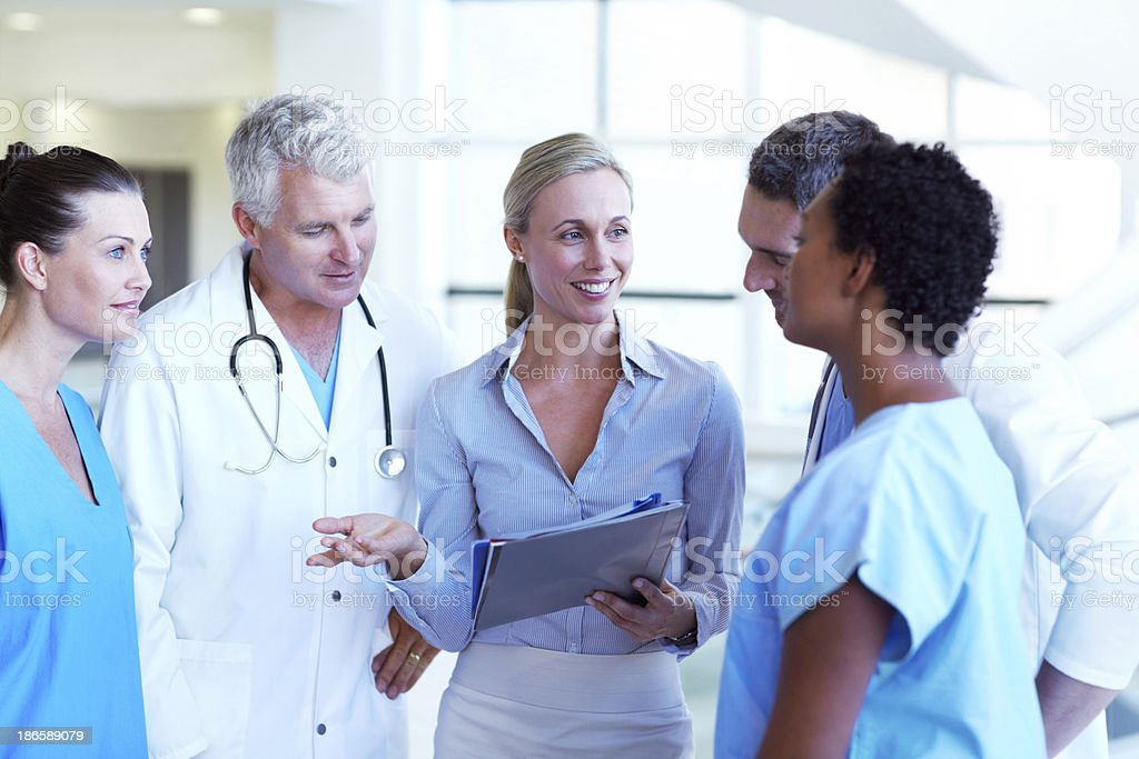 Sharing their schedules together stock photo