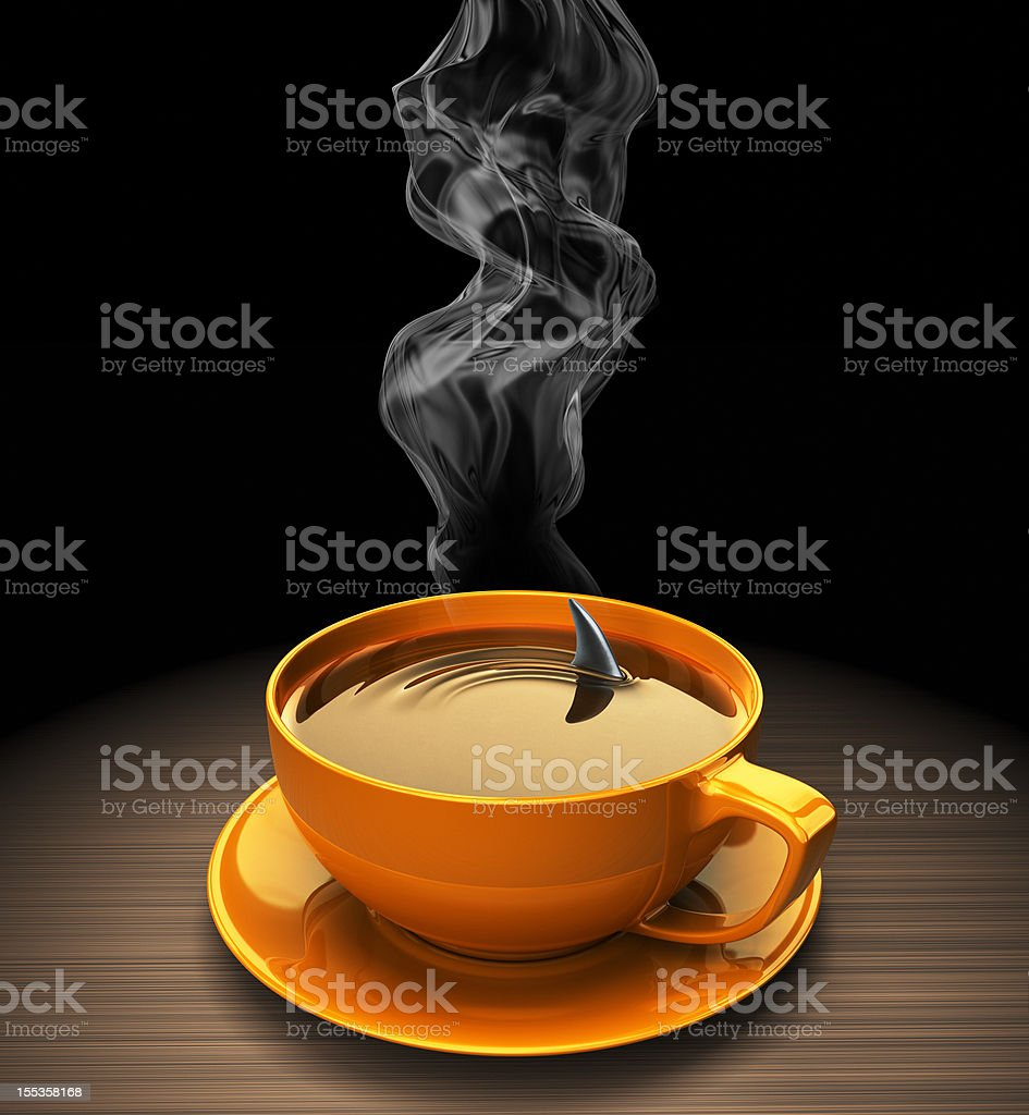 Shark fin in hot coffee royalty-free stock photo