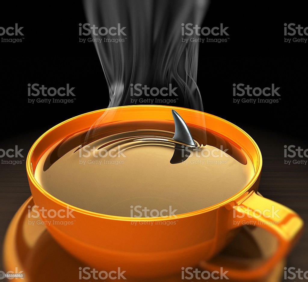 Shark fin in hot coffee.Close up royalty-free stock photo