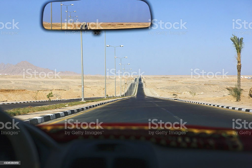 Sharm el Sheikh, Egypt, view through taxi windscreen stock photo