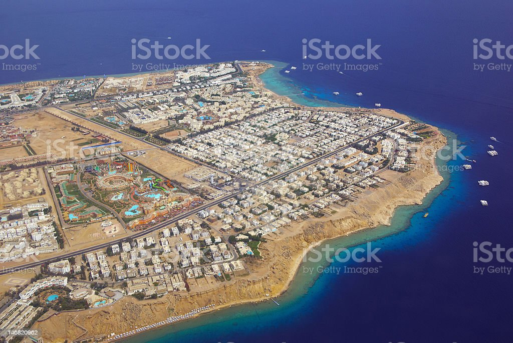 sharm el-sheikh from above stock photo