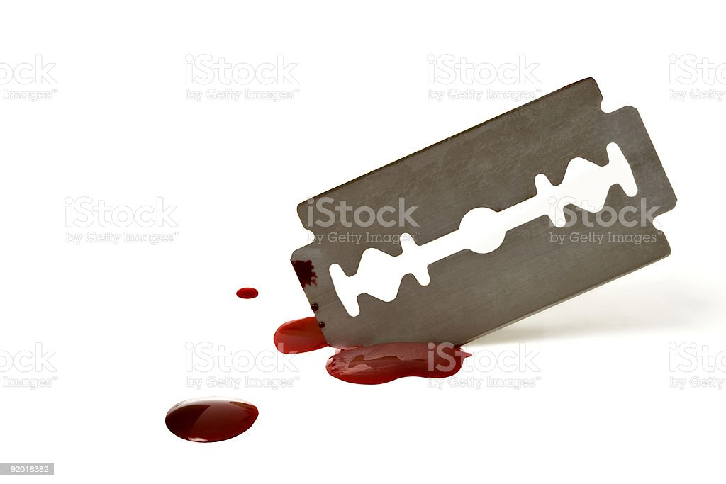 A sharp blade with spattered blood on white background royalty-free stock photo