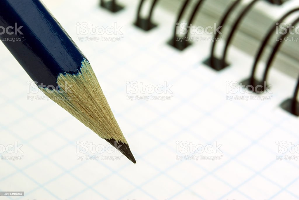 sharp blue pencil royalty-free stock photo