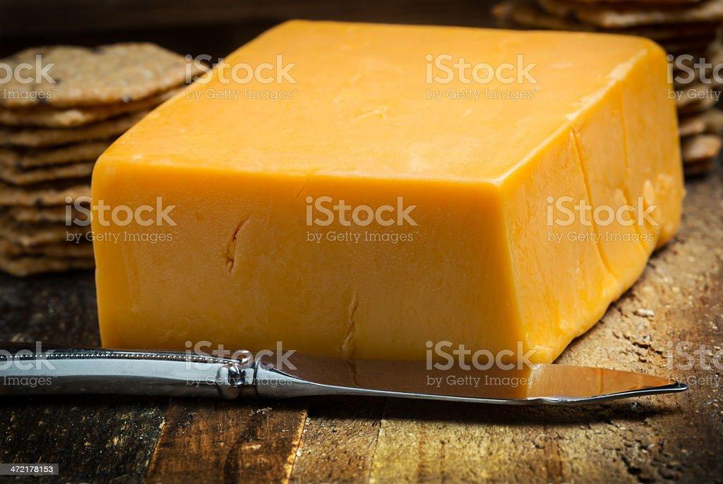 Sharp cheddar cheese stock photo