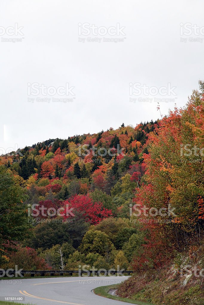 Sharp Curve On Mountain Road In Autumn royalty-free stock photo
