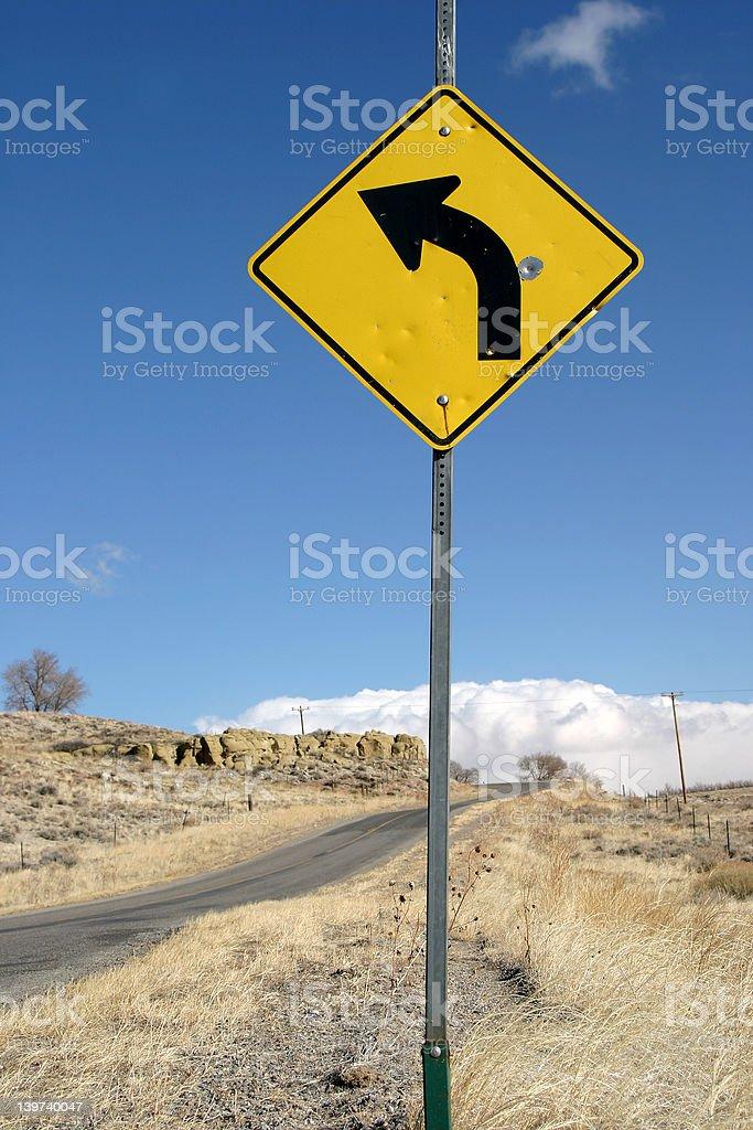 Sharp Left Turn Sign royalty-free stock photo