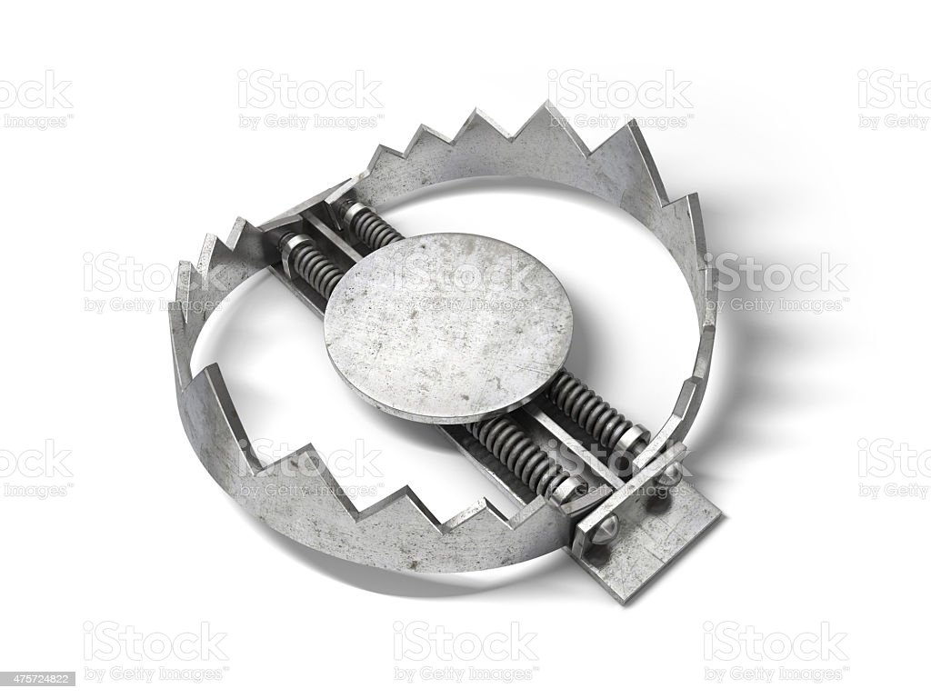 Sharp metal bear trap. 3D illustration. stock photo