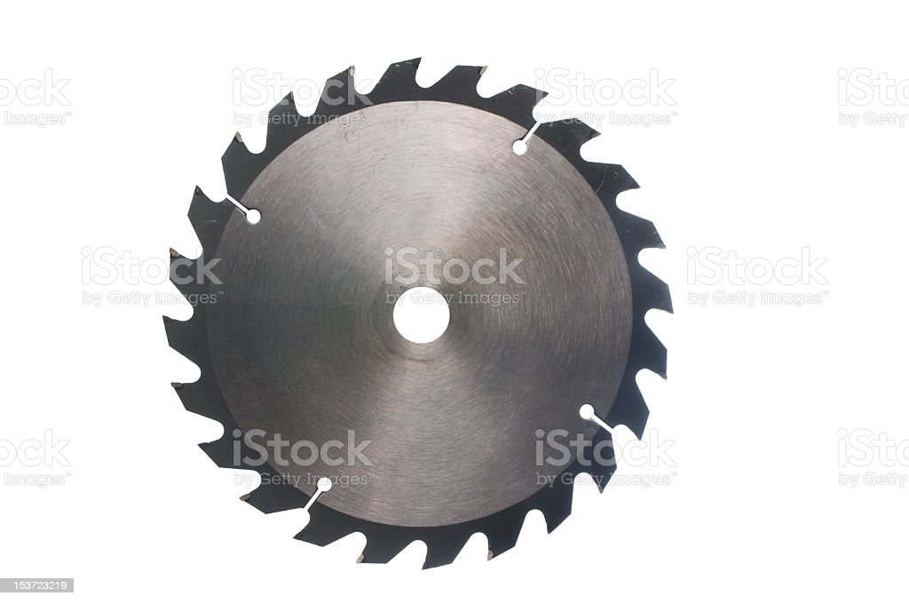 A sharp metal saw blade, isolated on a white background stock photo